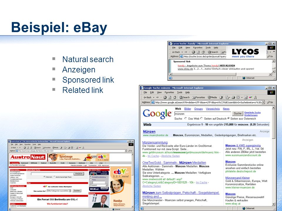 Beispiel: eBay  Natural search  Anzeigen  Sponsored link  Related link