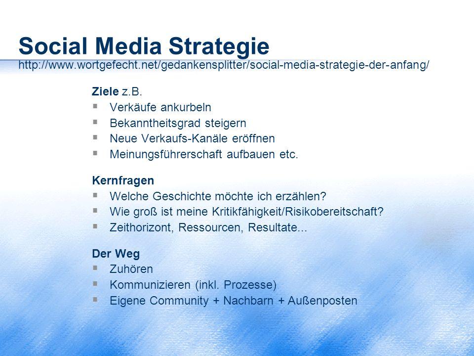 Social Media Strategie http://www.wortgefecht.net/gedankensplitter/social-media-strategie-der-anfang/ Ziele z.B.  Verkäufe ankurbeln  Bekanntheitsgr