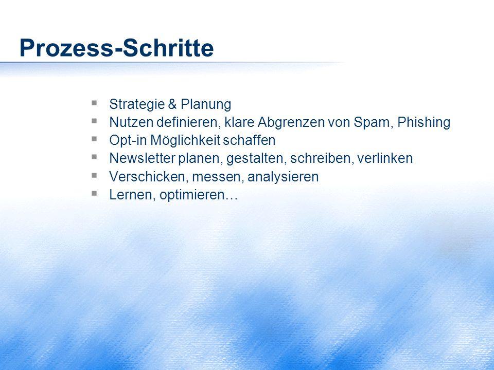 Prozess-Schritte  Strategie & Planung  Nutzen definieren, klare Abgrenzen von Spam, Phishing  Opt-in Möglichkeit schaffen  Newsletter planen, gest