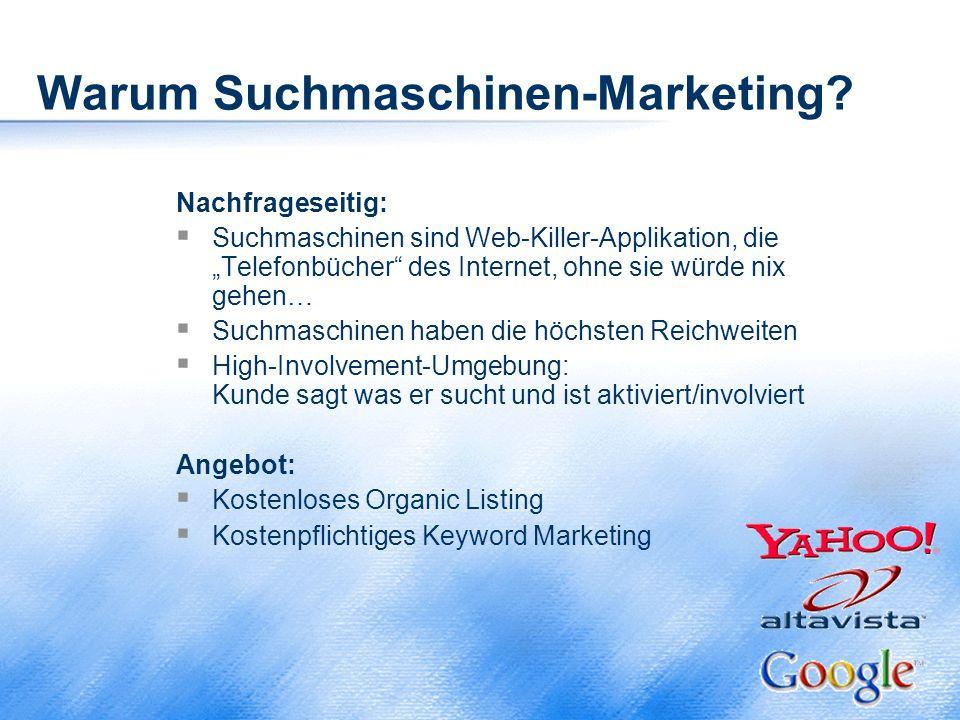 """Warum Suchmaschinen-Marketing? Nachfrageseitig:  Suchmaschinen sind Web-Killer-Applikation, die """"Telefonbücher"""" des Internet, ohne sie würde nix gehe"""