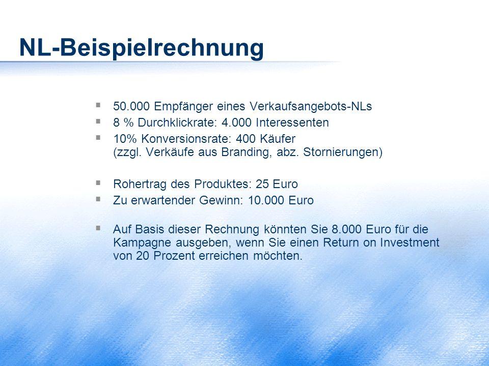 NL-Beispielrechnung  50.000 Empfänger eines Verkaufsangebots-NLs  8 % Durchklickrate: 4.000 Interessenten  10% Konversionsrate: 400 Käufer (zzgl. V