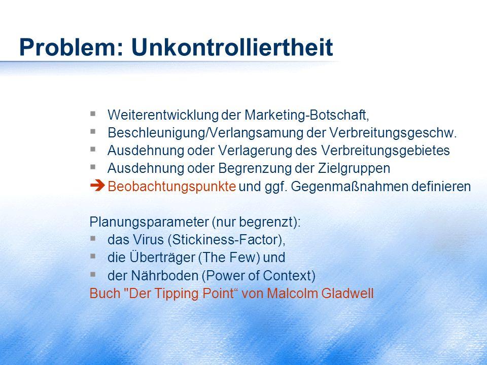 Problem: Unkontrolliertheit  Weiterentwicklung der Marketing-Botschaft,  Beschleunigung/Verlangsamung der Verbreitungsgeschw.  Ausdehnung oder Verl