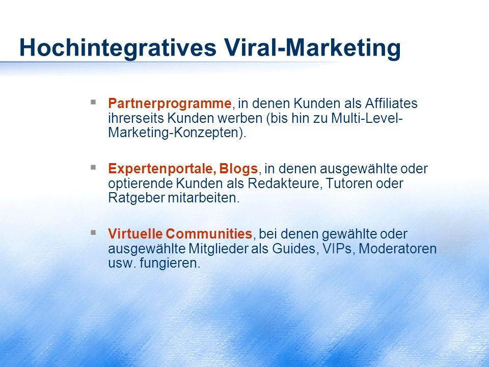 Hochintegratives Viral-Marketing  Partnerprogramme, in denen Kunden als Affiliates ihrerseits Kunden werben (bis hin zu Multi-Level- Marketing-Konzep