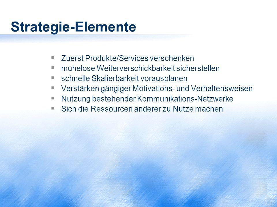 Strategie-Elemente  Zuerst Produkte/Services verschenken  mühelose Weiterverschickbarkeit sicherstellen  schnelle Skalierbarkeit vorausplanen  Ver