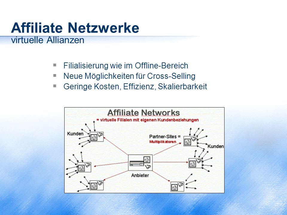 Affiliate Netzwerke virtuelle Allianzen  Filialisierung wie im Offline-Bereich  Neue Möglichkeiten für Cross-Selling  Geringe Kosten, Effizienz, Sk