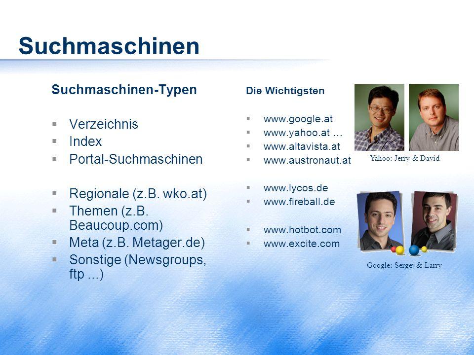 Suchmaschinen Suchmaschinen-Typen  Verzeichnis  Index  Portal-Suchmaschinen  Regionale (z.B. wko.at)  Themen (z.B. Beaucoup.com)  Meta (z.B. Met