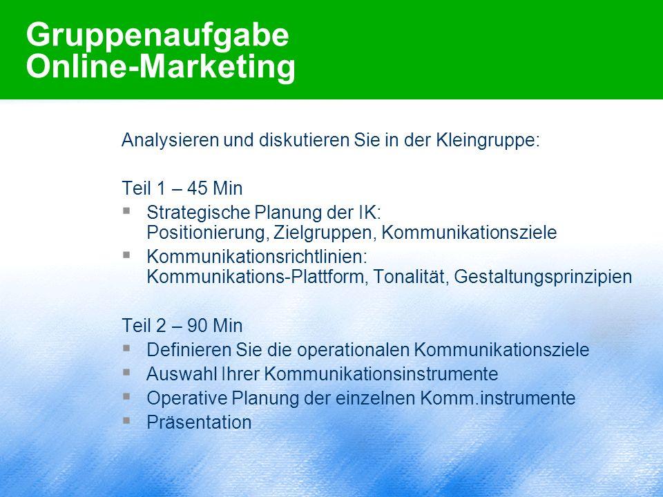 Gruppenaufgabe Online-Marketing Analysieren und diskutieren Sie in der Kleingruppe: Teil 1 – 45 Min  Strategische Planung der IK: Positionierung, Zie
