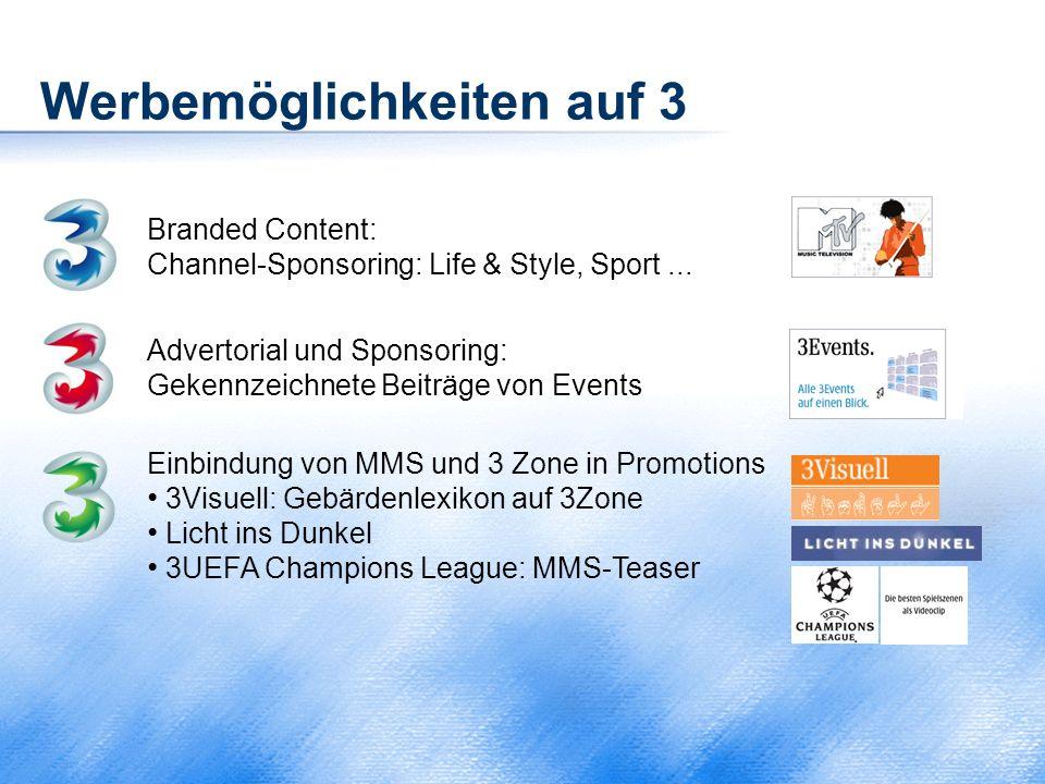 Werbemöglichkeiten auf 3 Branded Content: Channel-Sponsoring: Life & Style, Sport... Einbindung von MMS und 3 Zone in Promotions 3Visuell: Gebärdenlex