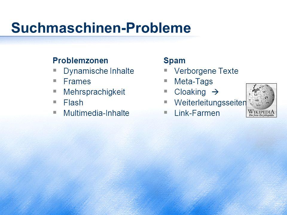 Suchmaschinen-Probleme Problemzonen  Dynamische Inhalte  Frames  Mehrsprachigkeit  Flash  Multimedia-Inhalte Spam  Verborgene Texte  Meta-Tags
