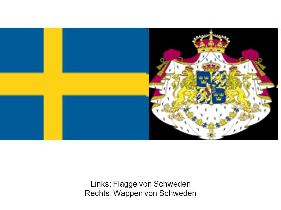 Links: Flagge von Schweden Rechts: Wappen von Schweden
