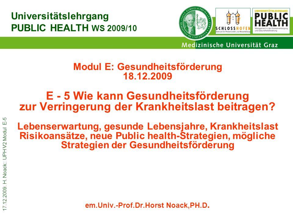 17.12.2009. H. Noack:: UPH V2 Modul E-5 Modul E: Gesundheitsförderung 18.12.2009 E - 5 Wie kann Gesundheitsförderung zur Verringerung der Krankheitsla