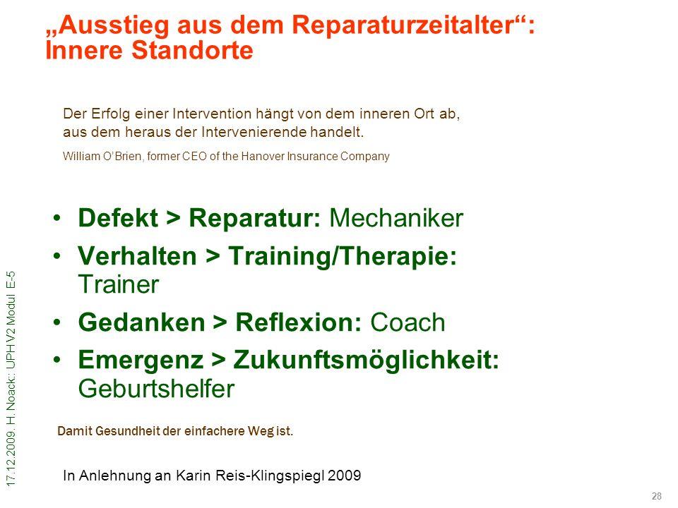 17.12.2009. H. Noack:: UPH V2 Modul E-5 28 Damit Gesundheit der einfachere Weg ist. Defekt > Reparatur: Mechaniker Verhalten > Training/Therapie: Trai