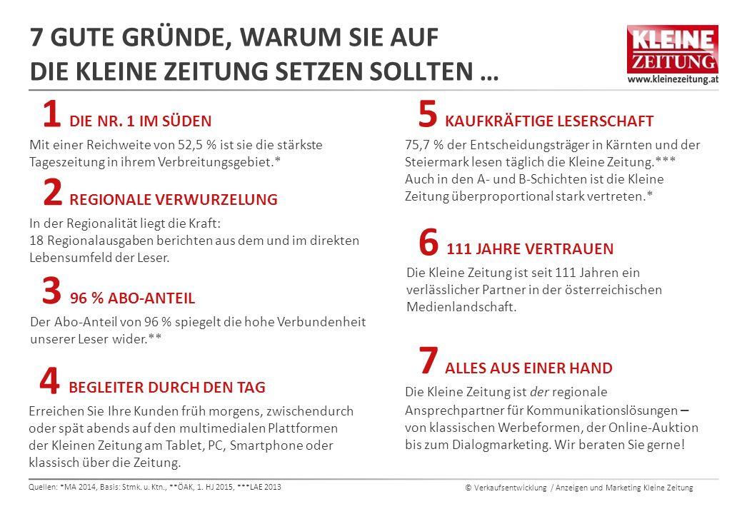 © Verkaufsentwicklung / Anzeigen und Marketing Kleine Zeitung 7 GUTE GRÜNDE, WARUM SIE AUF DIE KLEINE ZEITUNG SETZEN SOLLTEN … REGIONALE VERWURZELUNG