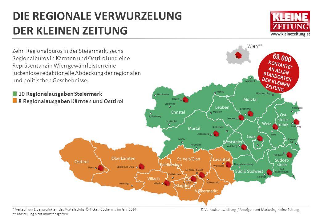 © Verkaufsentwicklung / Anzeigen und Marketing Kleine Zeitung DIE AUFLAGENSTÄRKSTE ZEITUNG IM SÜDEN ÖSTERREICHS AUFLAGENÜBERSICHT Die Kleine Zeitung ist in ihrem Hauptverbreitungsgebiet Steiermark, Kärnten und Osttirol die klare Nr.