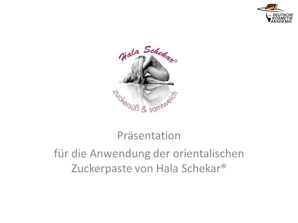 Präsentation für die Anwendung der orientalischen Zuckerpaste von Hala Schekar®