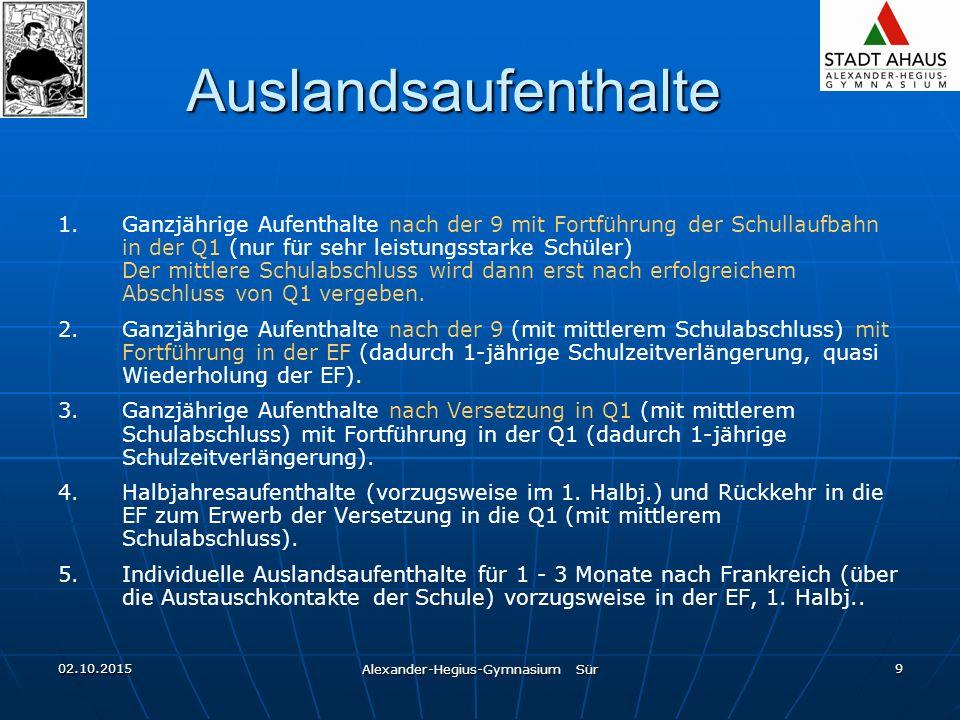 02.10.2015 Alexander-Hegius-Gymnasium Sür 9 Auslandsaufenthalte 1.