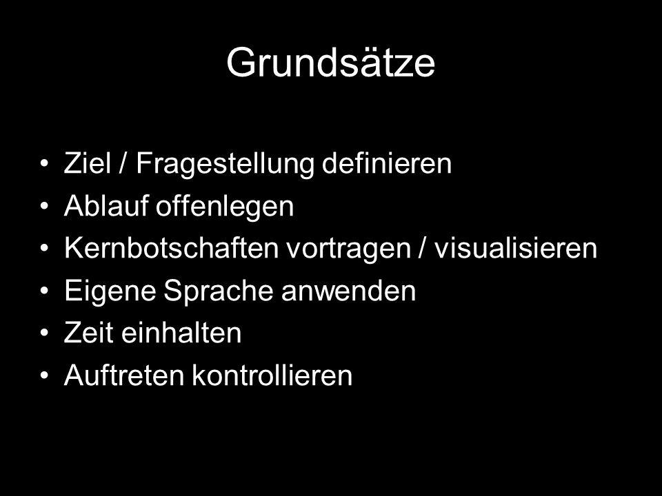 Grundsätze Ziel / Fragestellung definieren Ablauf offenlegen Kernbotschaften vortragen / visualisieren Eigene Sprache anwenden Zeit einhalten Auftreten kontrollieren
