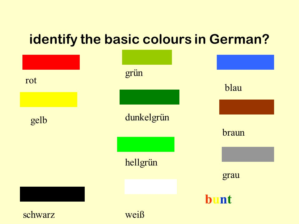 identify the basic colours in German.