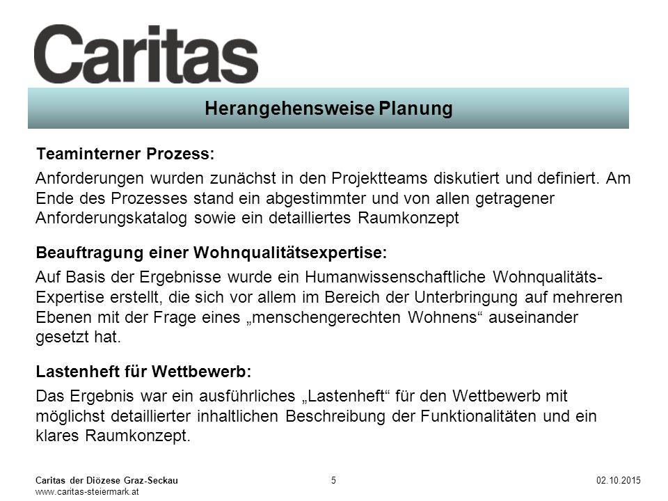 Caritas der Diözese Graz-Seckau www.caritas-steiermark.at 02.10.20156 Umsetzung Wettbewerb: Es gab ein Siegerprojekt, das den Anforderungen sehr gut Rechnung getragen hat.