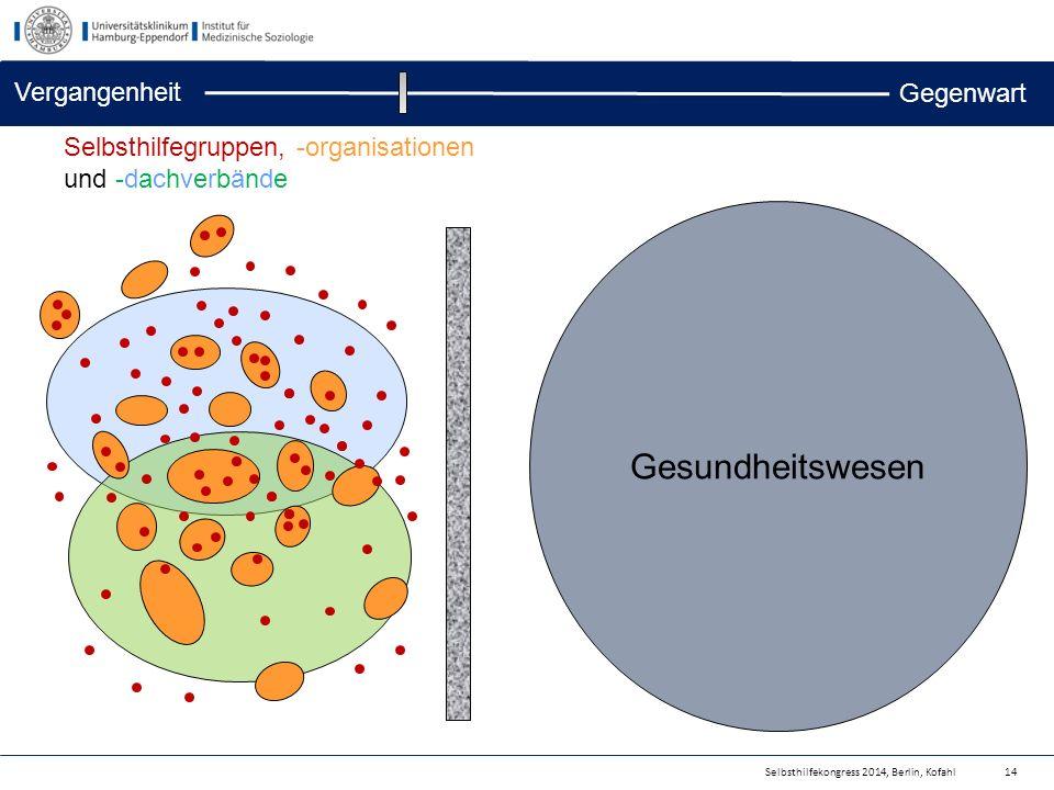 Selbsthilfekongress 2014, Berlin, Kofahl Gesundheitswesen 14 Selbsthilfegruppen, -organisationen und -dachverbände Vergangenheit Gegenwart