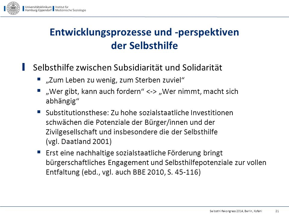 """Selbsthilfekongress 2014, Berlin, Kofahl Entwicklungsprozesse und -perspektiven der Selbsthilfe Selbsthilfe zwischen Subsidiarität und Solidarität  """""""