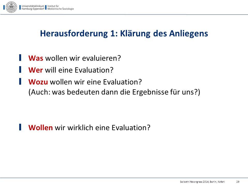 Herausforderung 1: Klärung des Anliegens Was wollen wir evaluieren? Wer will eine Evaluation? Wozu wollen wir eine Evaluation? (Auch: was bedeuten dan