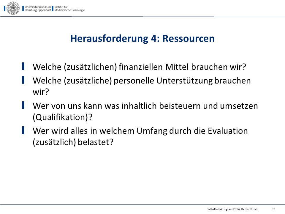 Herausforderung 4: Ressourcen Welche (zusätzlichen) finanziellen Mittel brauchen wir? Welche (zusätzliche) personelle Unterstützung brauchen wir? Wer