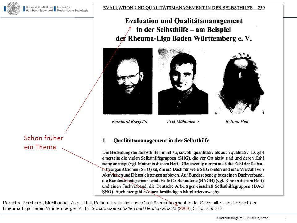 Borgetto, Bernhard ; Mühlbacher, Axel ; Hell, Bettina: Evaluation und Qualitätsmanagement in der Selbsthilfe - am Beispiel der Rheuma-Liga Baden Württ