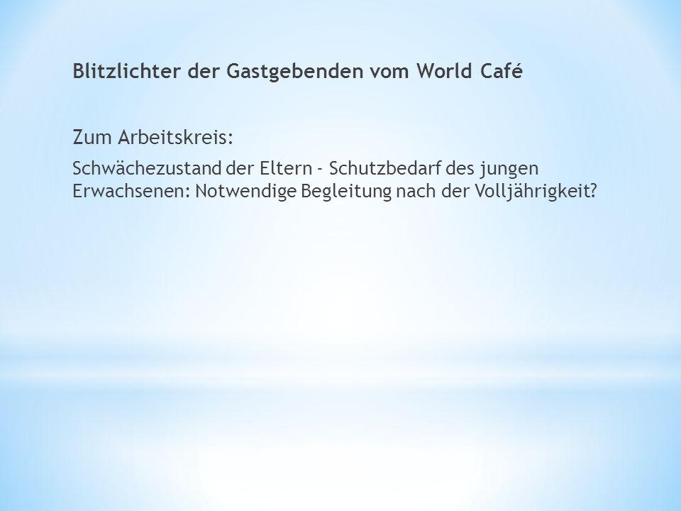 Blitzlichter der Gastgebenden vom World Café Zum Arbeitskreis: Schwächezustand der Eltern - Schutzbedarf des jungen Erwachsenen: Notwendige Begleitung nach der Volljährigkeit