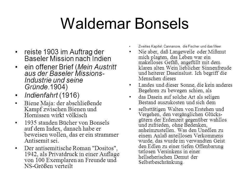 Waldemar Bonsels reiste 1903 im Auftrag der Baseler Mission nach Indien ein offener Brief (Mein Austritt aus der Baseler Missions- Industrie und seine