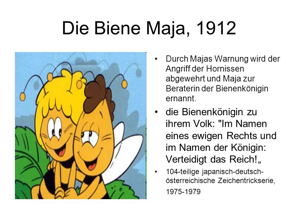Die Biene Maja, 1912 Durch Majas Warnung wird der Angriff der Hornissen abgewehrt und Maja zur Beraterin der Bienenkönigin ernannt. die Bienenkönigin