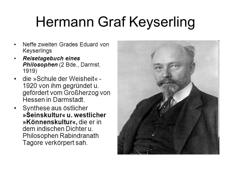 Hermann Graf Keyserling Neffe zweiten Grades Eduard von Keyserlings Reisetagebuch eines Philosophen (2 Bde., Darmst. 1919) die »Schule der Weisheit« -