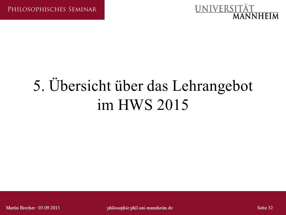 5. Übersicht über das Lehrangebot im HWS 2015 Martin Brecher · 03.09.2015philosophie.phil.uni-mannheim.deSeite 32