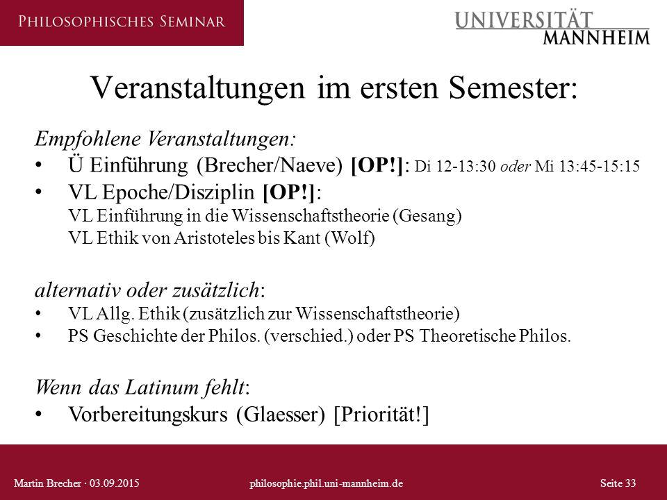 Veranstaltungen im ersten Semester: Martin Brecher · 03.09.2015philosophie.phil.uni-mannheim.deSeite 33 Empfohlene Veranstaltungen: Ü Einführung (Brec