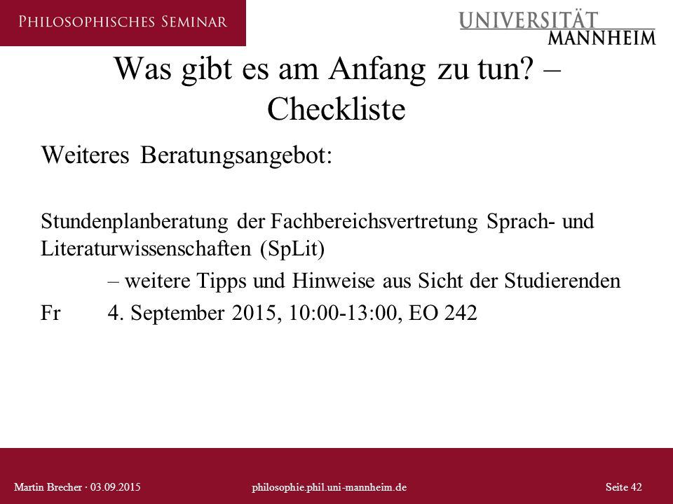 Was gibt es am Anfang zu tun? – Checkliste Weiteres Beratungsangebot: Stundenplanberatung der Fachbereichsvertretung Sprach- und Literaturwissenschaft
