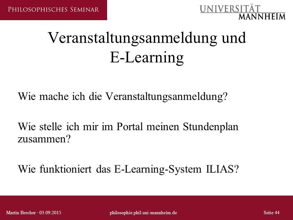 Veranstaltungsanmeldung und E-Learning Wie mache ich die Veranstaltungsanmeldung.