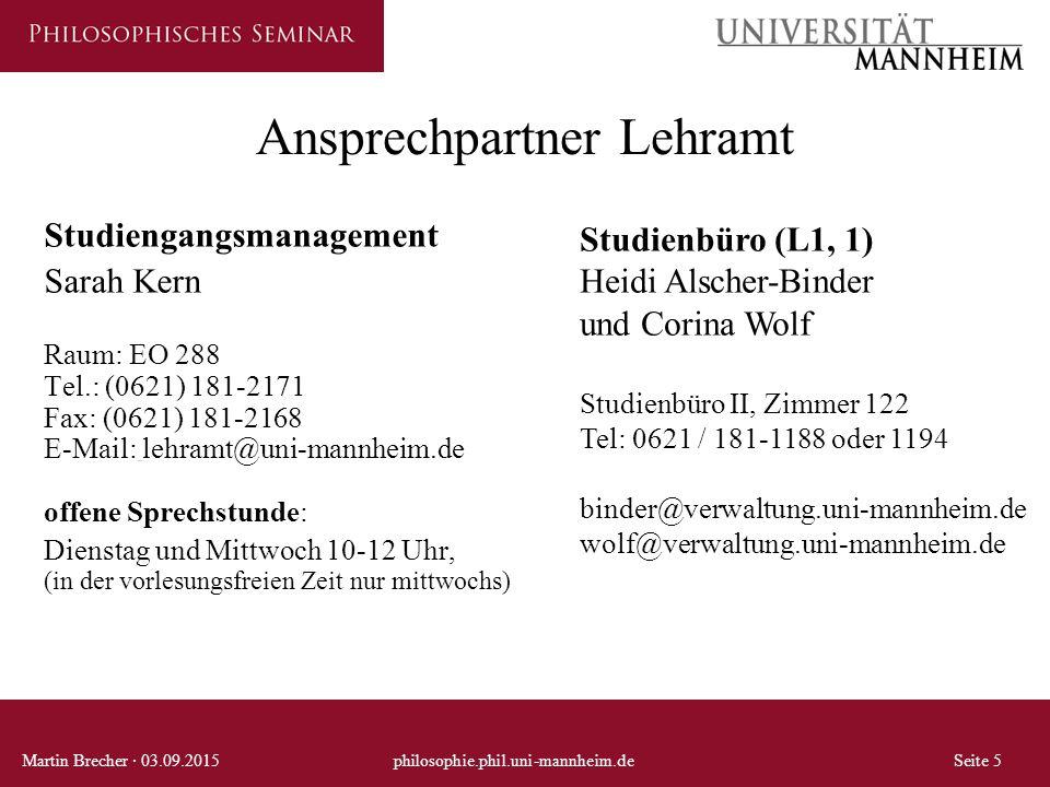 Ansprechpartner Lehramt Studiengangsmanagement Sarah Kern Raum: EO 288 Tel.: (0621) 181-2171 Fax: (0621) 181-2168 E-Mail: lehramt@uni-mannheim.de offe