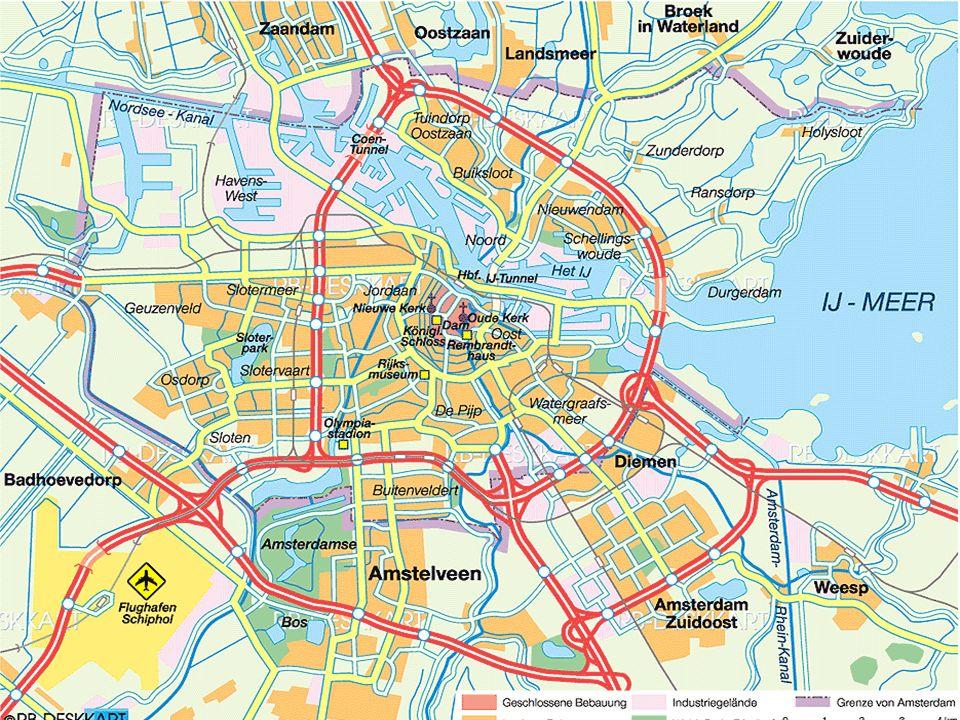  Koordinaten: 52°22'12.7''N 04°53'25.6''O  liegt in der Provinz Noord- Holland  Liegt im Westen an der Mündung der Amstel und des IJ in das Ijsselmeer  durch den Noordzeekanaal mit der Nordsee verbunden  Durch Damm vor Überschwemmungen geschützt