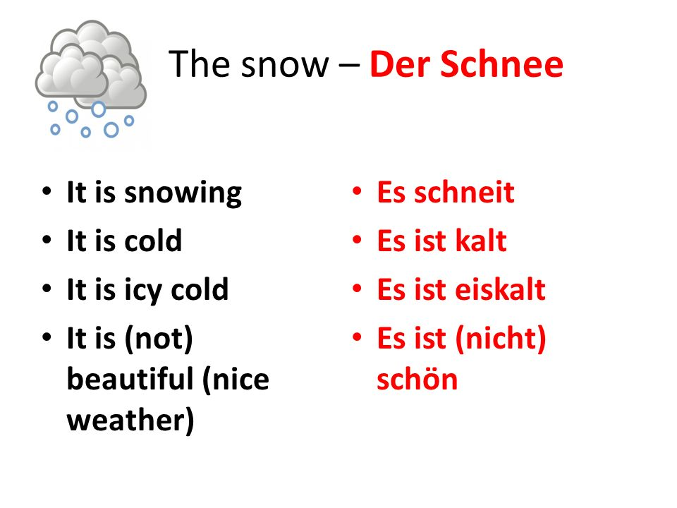 The snow – Der Schnee It is snowing It is cold It is icy cold It is (not) beautiful (nice weather) Es schneit Es ist kalt Es ist eiskalt Es ist (nicht) schön