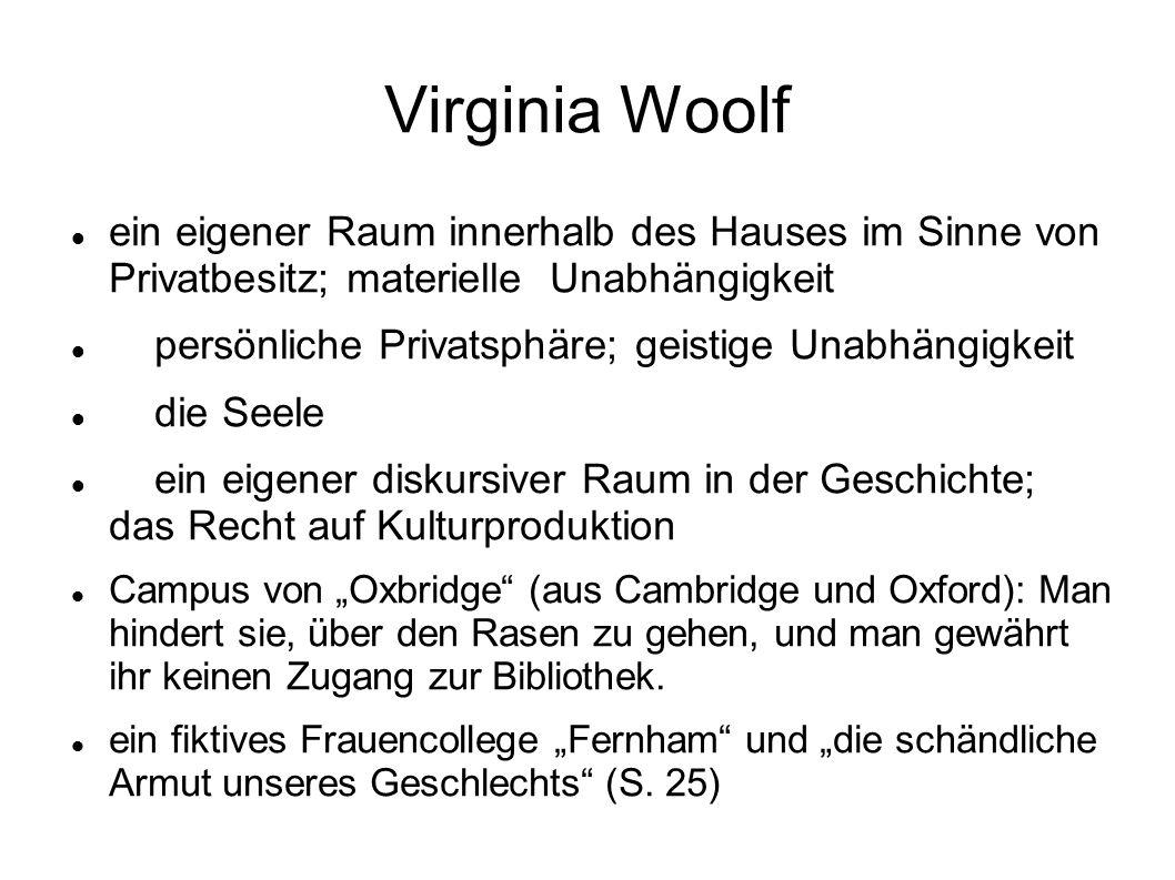 """Virginia Woolf ein eigener Raum innerhalb des Hauses im Sinne von Privatbesitz; materielle Unabhängigkeit persönliche Privatsphäre; geistige Unabhängigkeit die Seele ein eigener diskursiver Raum in der Geschichte; das Recht auf Kulturproduktion Campus von """"Oxbridge (aus Cambridge und Oxford): Man hindert sie, über den Rasen zu gehen, und man gewährt ihr keinen Zugang zur Bibliothek."""