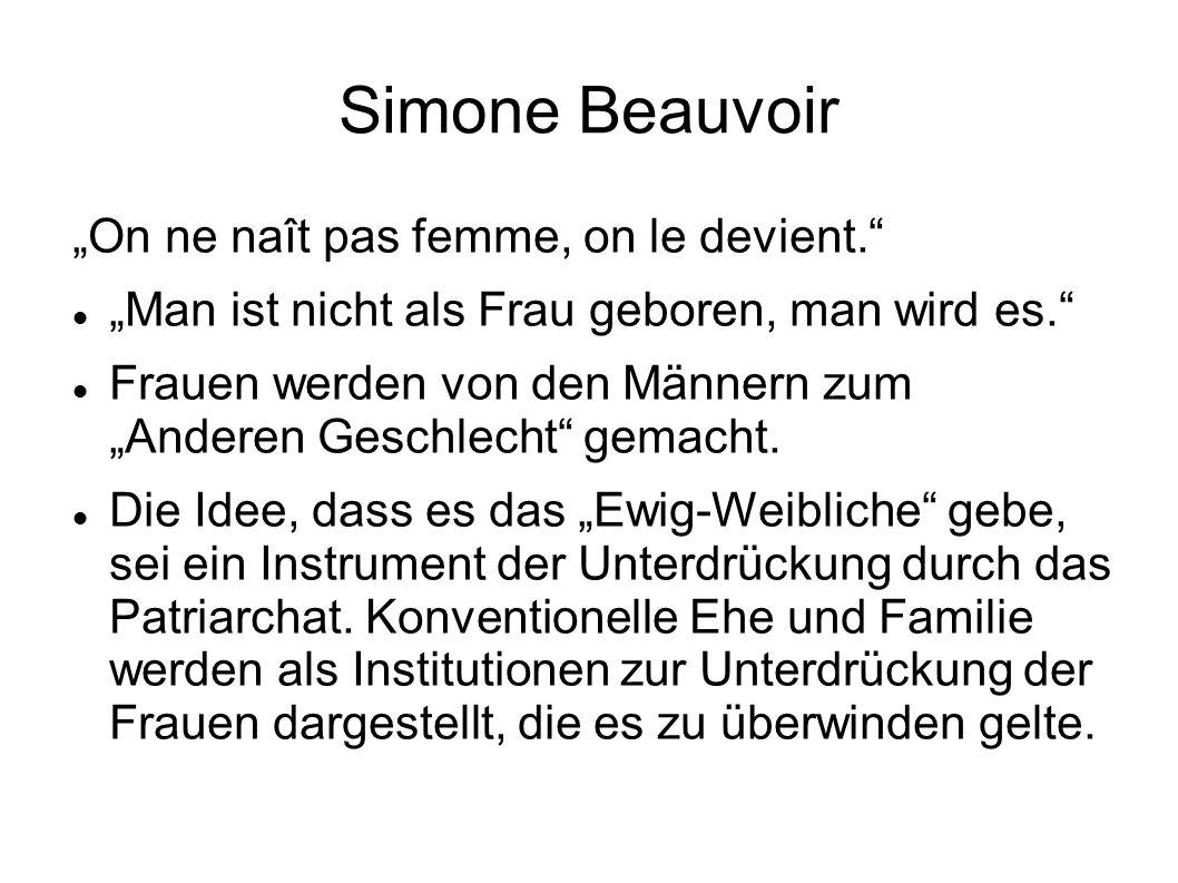 """Simone Beauvoir """"On ne naît pas femme, on le devient. """"Man ist nicht als Frau geboren, man wird es. Frauen werden von den Männern zum """"Anderen Geschlecht gemacht."""