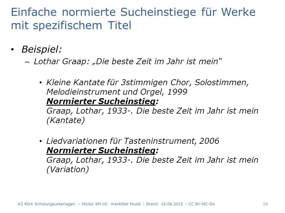 """Einfache normierte Sucheinstiege für Werke mit spezifischem Titel Beispiel: – Lothar Graap: """"Die beste Zeit im Jahr ist mein Kleine Kantate für 3stimmigen Chor, Solostimmen, Melodieinstrument und Orgel, 1999 Normierter Sucheinstieg: Graap, Lothar, 1933-."""