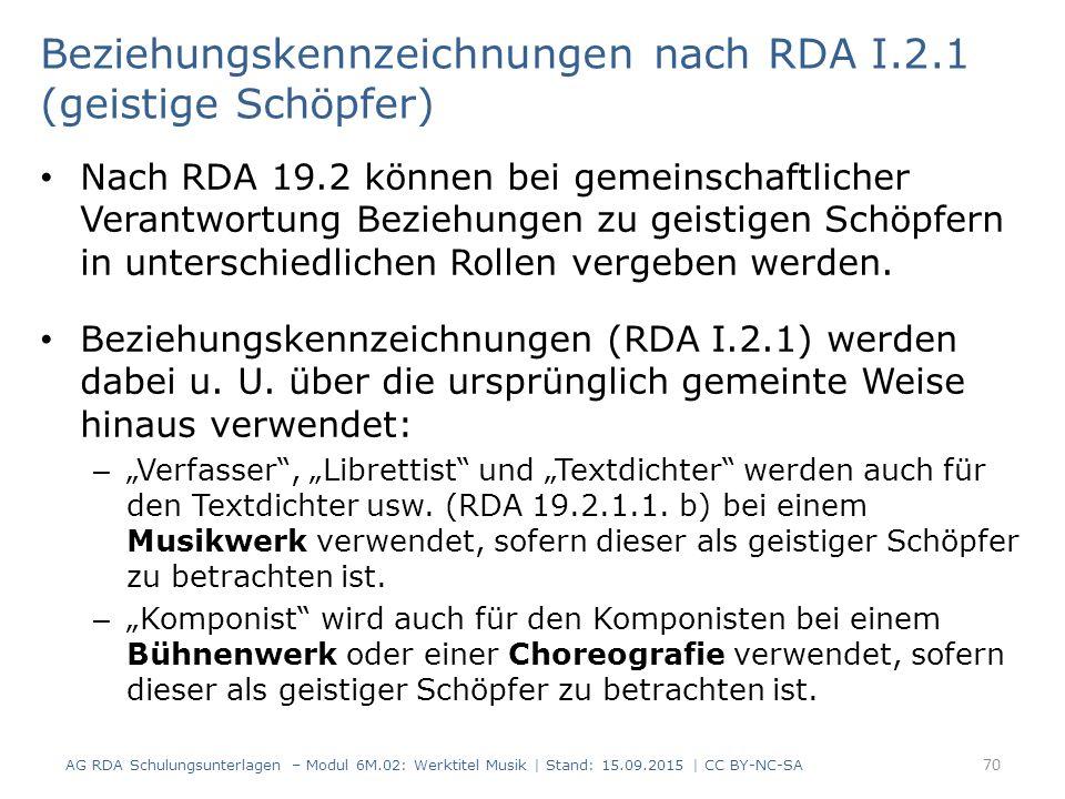 Beziehungskennzeichnungen nach RDA I.2.1 (geistige Schöpfer) Nach RDA 19.2 können bei gemeinschaftlicher Verantwortung Beziehungen zu geistigen Schöpf