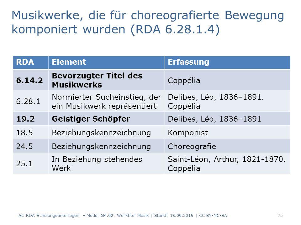 75 RDAElementErfassung 6.14.2 Bevorzugter Titel des Musikwerks Coppélia 6.28.1 Normierter Sucheinstieg, der ein Musikwerk repräsentiert Delibes, Léo, 1836–1891.