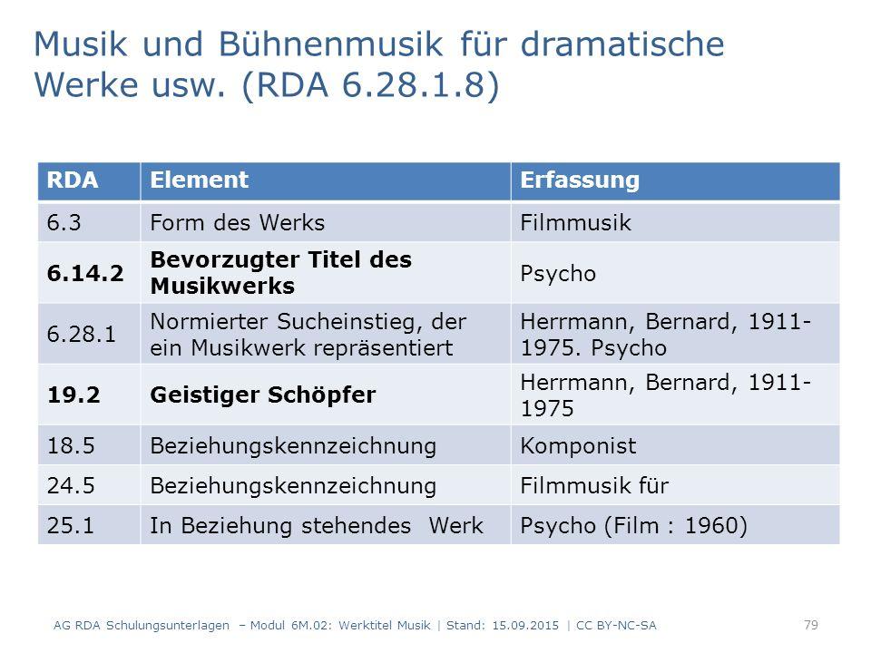 79 RDAElementErfassung 6.3Form des WerksFilmmusik 6.14.2 Bevorzugter Titel des Musikwerks Psycho 6.28.1 Normierter Sucheinstieg, der ein Musikwerk rep