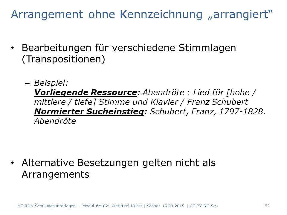 """Arrangement ohne Kennzeichnung """"arrangiert Bearbeitungen für verschiedene Stimmlagen (Transpositionen) – Beispiel: Vorliegende Ressource: Abendröte : Lied für [hohe / mittlere / tiefe] Stimme und Klavier / Franz Schubert Normierter Sucheinstieg: Schubert, Franz, 1797-1828."""