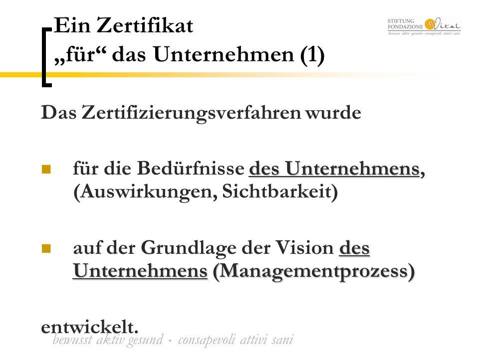 """bewusst aktiv gesund  consapevoli attivi sani Ein Zertifikat """"für das Unternehmen (1) Das Zertifizierungsverfahren wurde des Unternehmens für die Bedürfnisse des Unternehmens, (Auswirkungen, Sichtbarkeit) des Unternehmens (Managementprozess) auf der Grundlage der Vision des Unternehmens (Managementprozess) entwickelt."""