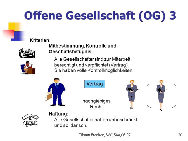 Tilman Frenken,BWI,5AA,06-0720 Offene Gesellschaft (OG) 3 Vertrag Kriterien: Mitbestimmung, Kontrolle und Geschäftsbefugnis: Alle Gesellschafter sind