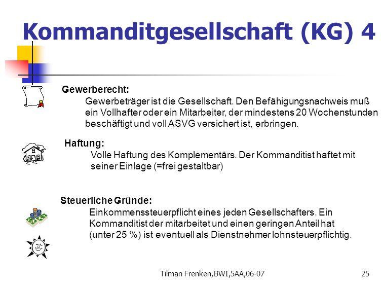 Tilman Frenken,BWI,5AA,06-0725 Gewerberecht: Gewerbeträger ist die Gesellschaft. Den Befähigungsnachweis muß ein Vollhafter oder ein Mitarbeiter, der