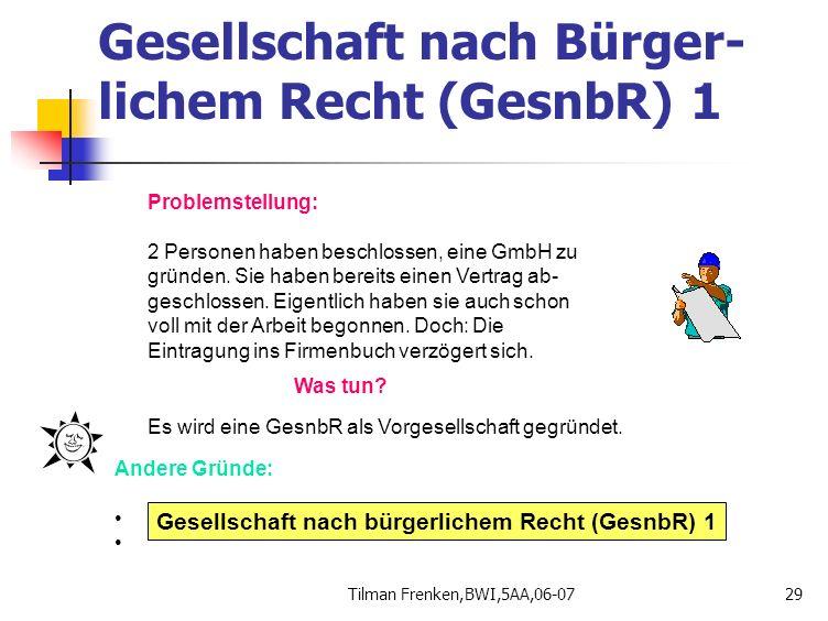 Tilman Frenken,BWI,5AA,06-0729 Problemstellung: 2 Personen haben beschlossen, eine GmbH zu gründen. Sie haben bereits einen Vertrag ab- geschlossen. E